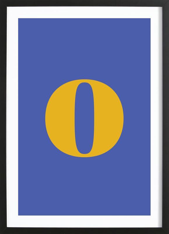 Blue Letter O Poster i träram