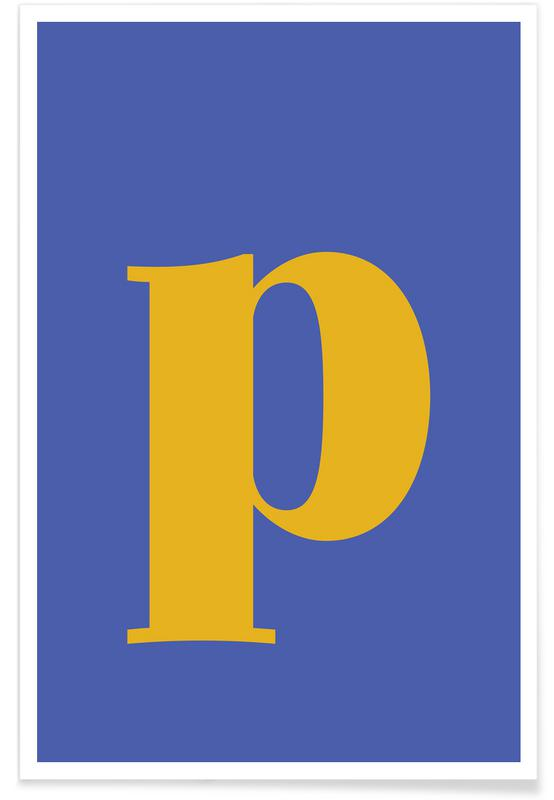Blue Letter P Poster