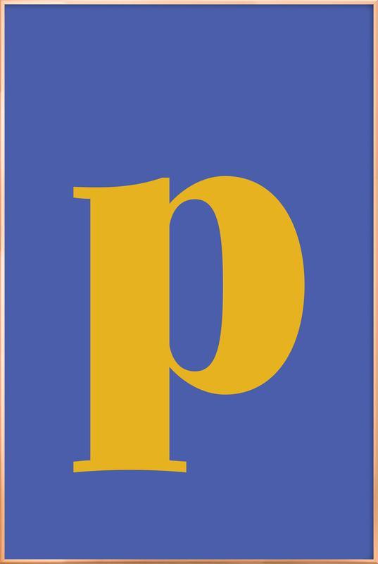 Blue Letter P affiche sous cadre en aluminium