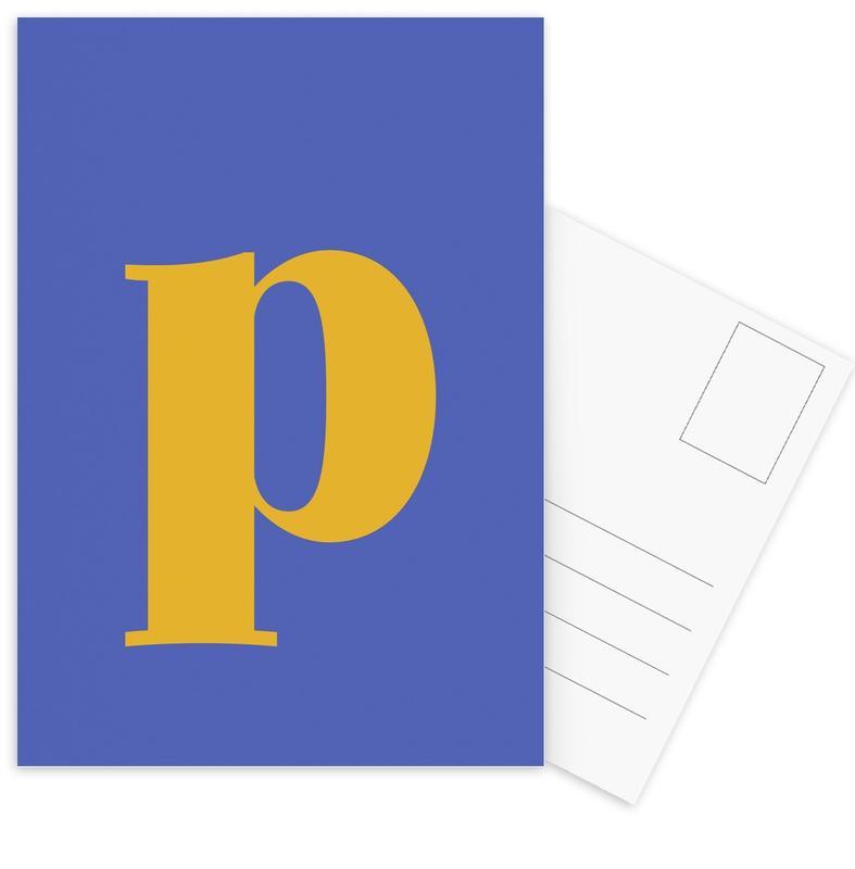 Blue Letter P Postcard Set