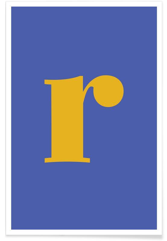 Blue Letter R poster