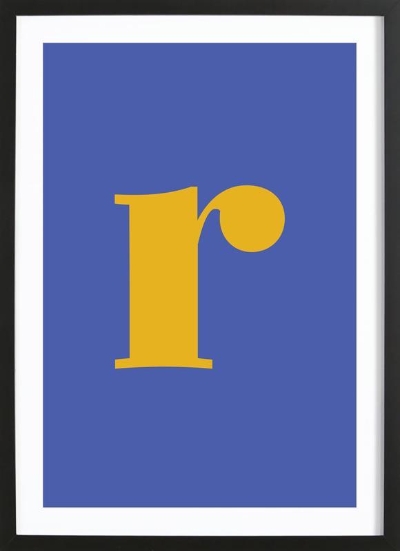 Blue Letter R Poster i träram
