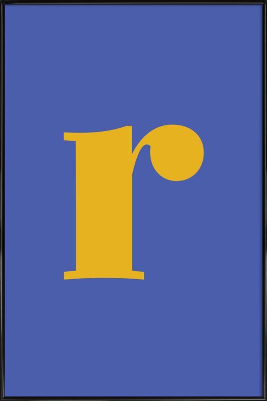 Blue Letter R Poster i standardram