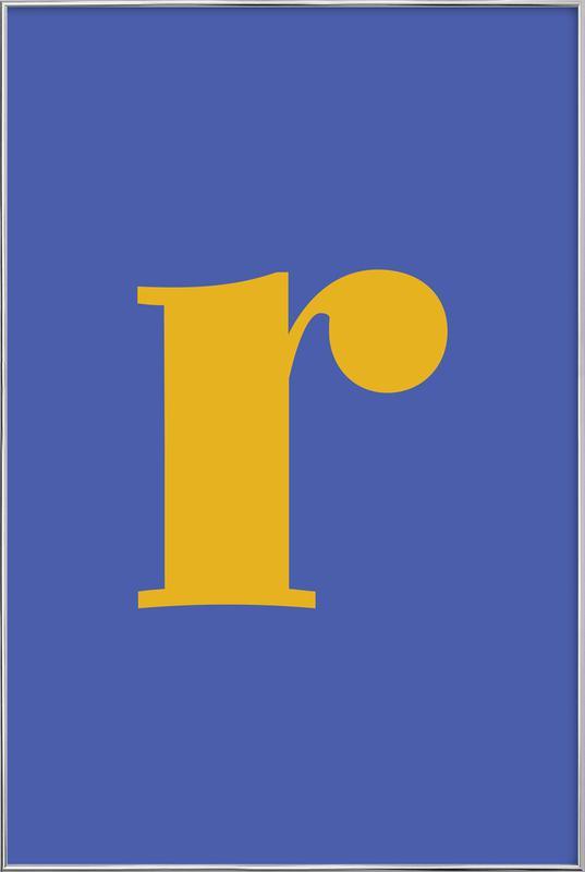 Blue Letter R Poster i aluminiumram