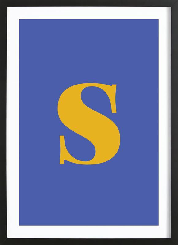 Blue Letter S affiche sous cadre en bois