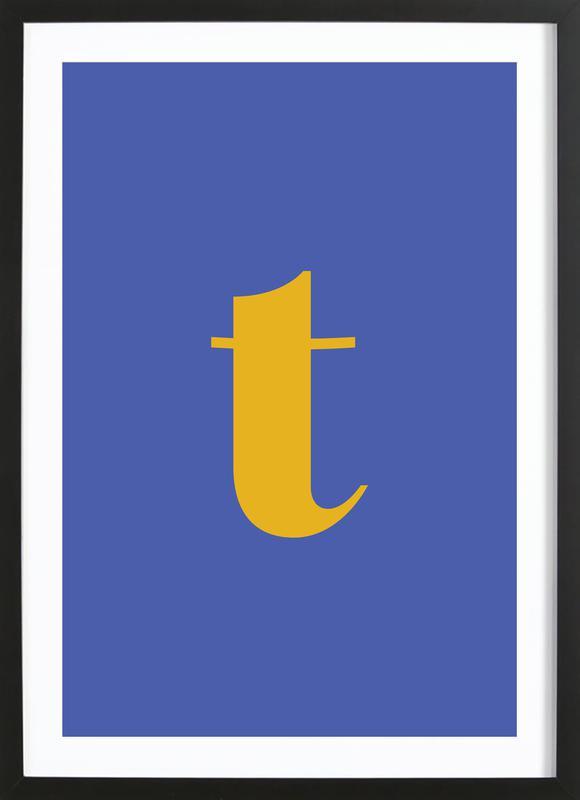 Blue Letter T Framed Print