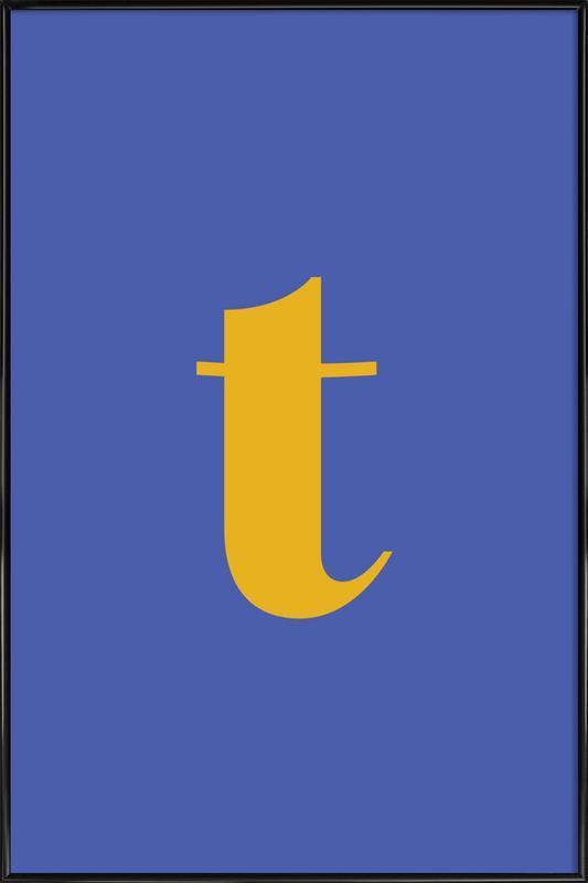 Blue Letter T ingelijste poster