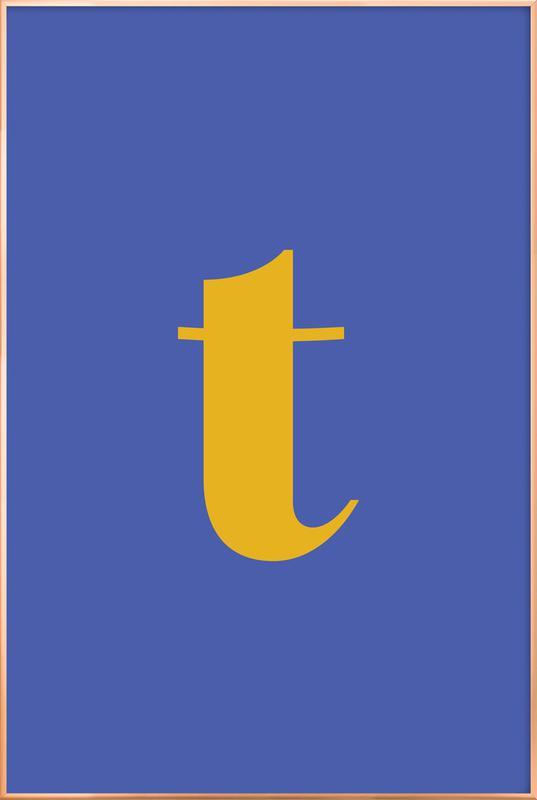 Blue Letter T Poster in Aluminium Frame