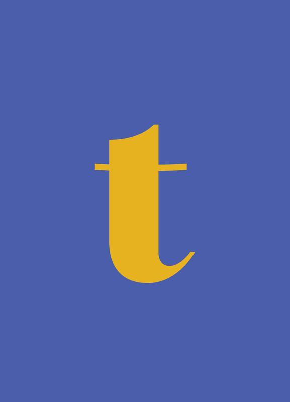 Blue Letter T Canvas Print