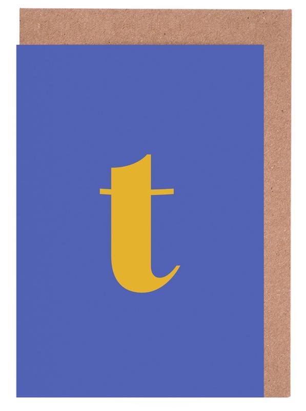 Blue Letter T Greeting Card Set