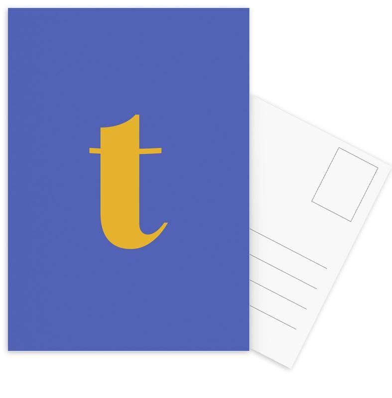 Blue Letter T cartes postales
