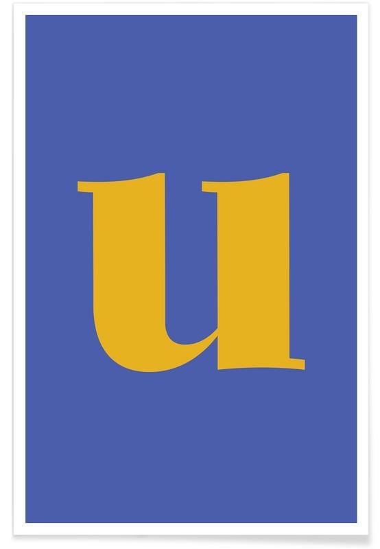 Alfabet og bogstaver, Blue Letter U Plakat