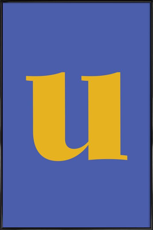 Blue Letter U Framed Poster