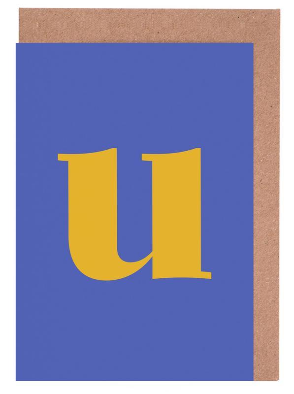 Blue Letter U cartes de vœux