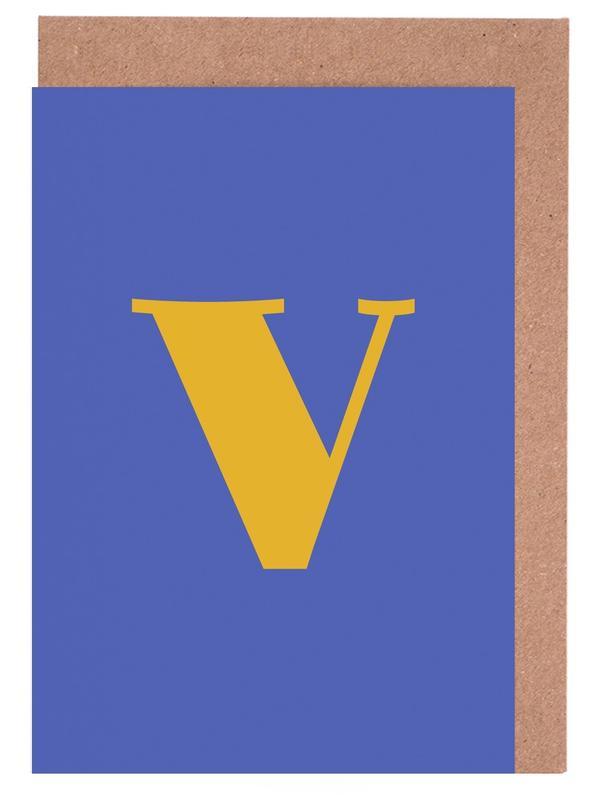 Blue Letter V cartes de vœux