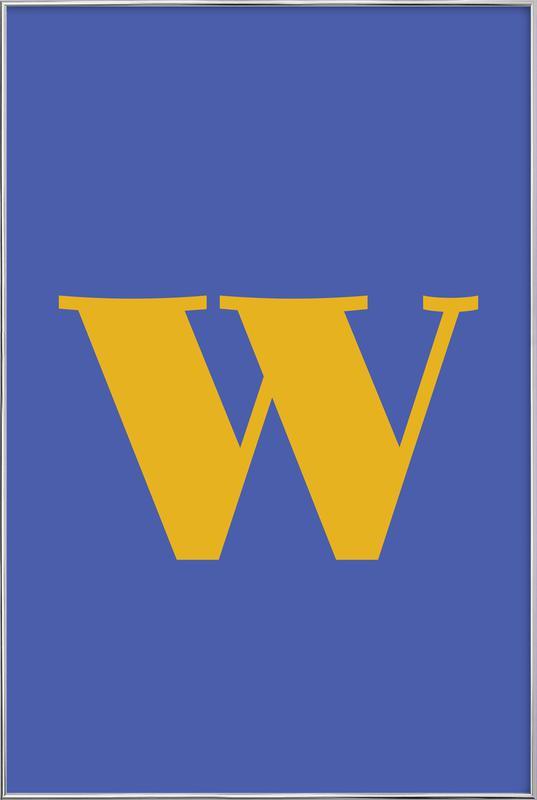 Blue Letter W Poster in Aluminium Frame