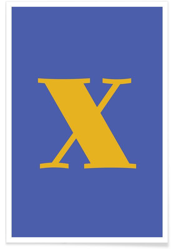 Blue Letter X affiche