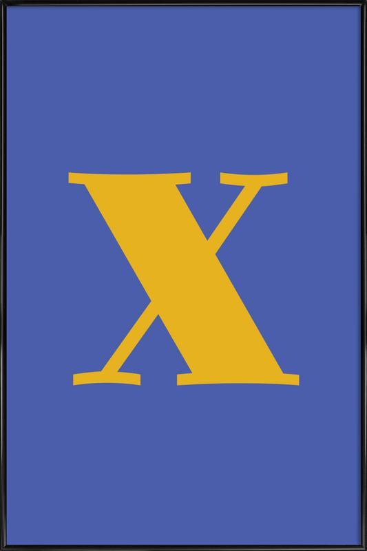 Blue Letter X ingelijste poster