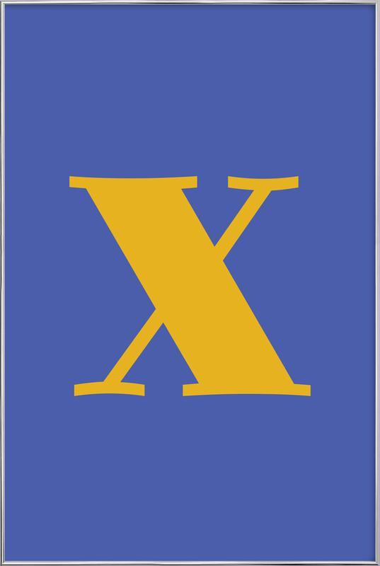 Blue Letter X affiche sous cadre en aluminium