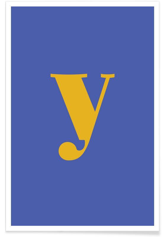 Alfabeto & lettere, Blue Letter Y poster