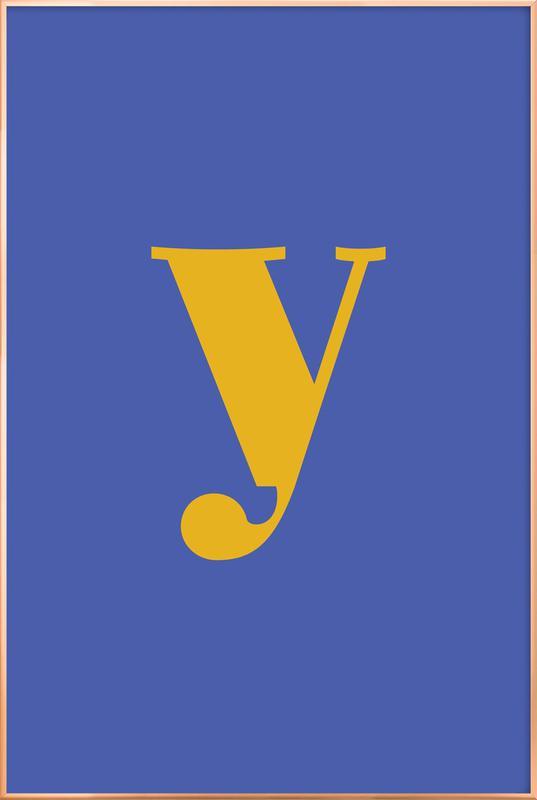 Blue Letter Y -Poster im Alurahmen