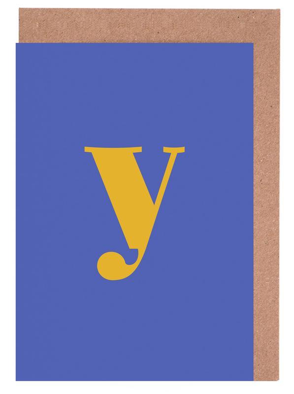 Blue Letter Y -Grußkarten-Set