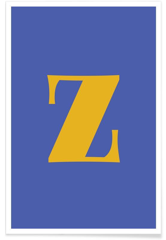 Alfabet og bogstaver, Blue Letter Z Plakat