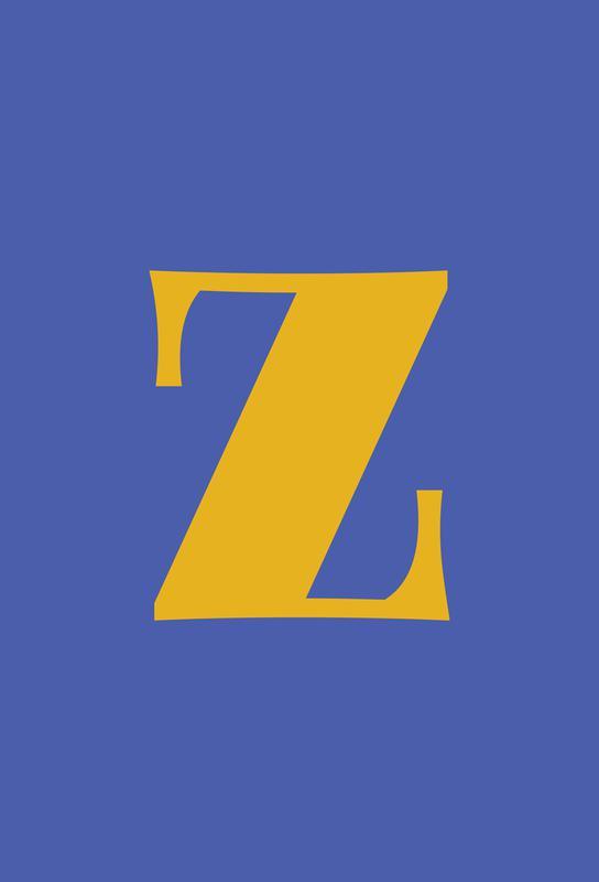 Blue Letter Z tableau en verre