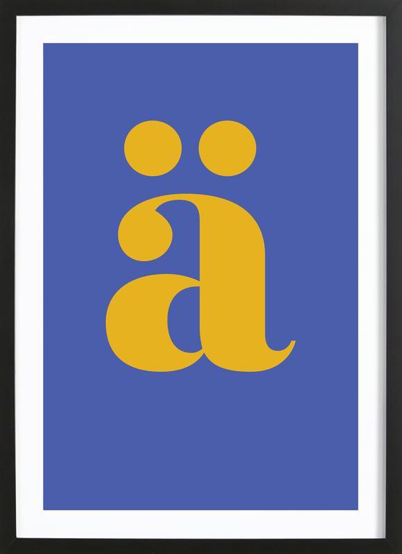 Blue Letter ä affiche sous cadre en bois