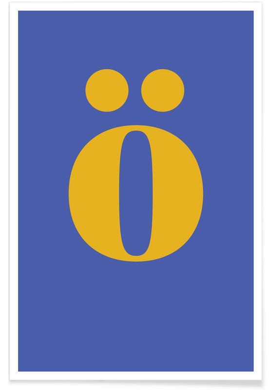 Alfabet og bogstaver, Blue Letter ö Plakat