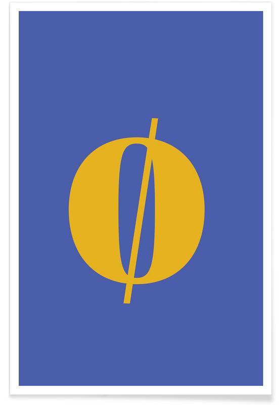 Alfabet og bogstaver, Blue Letter ø Plakat