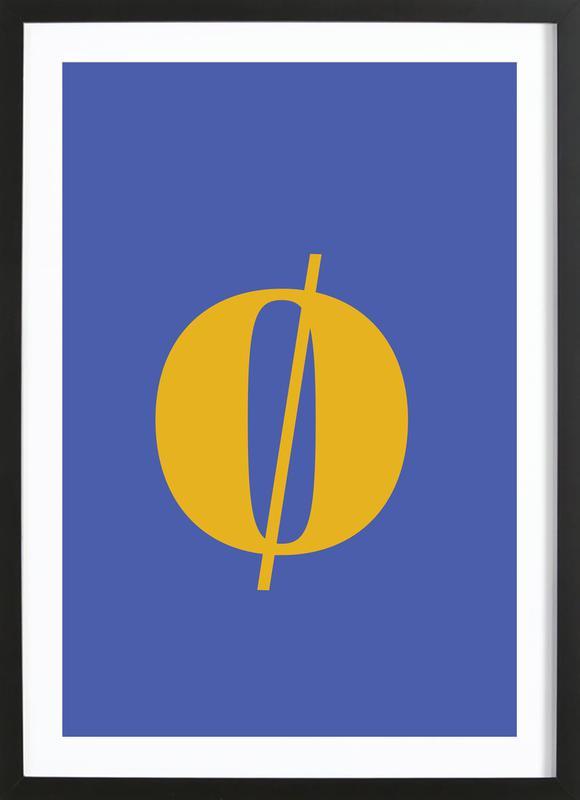 Blue Letter ø affiche sous cadre en bois