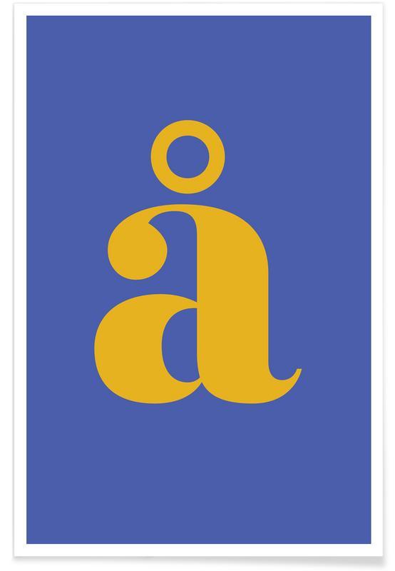 Abecedario y letras, Blue Letter å póster