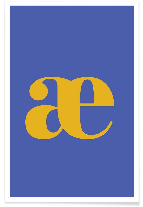 Alfabet og bogstaver, Blue Letter æ Plakat