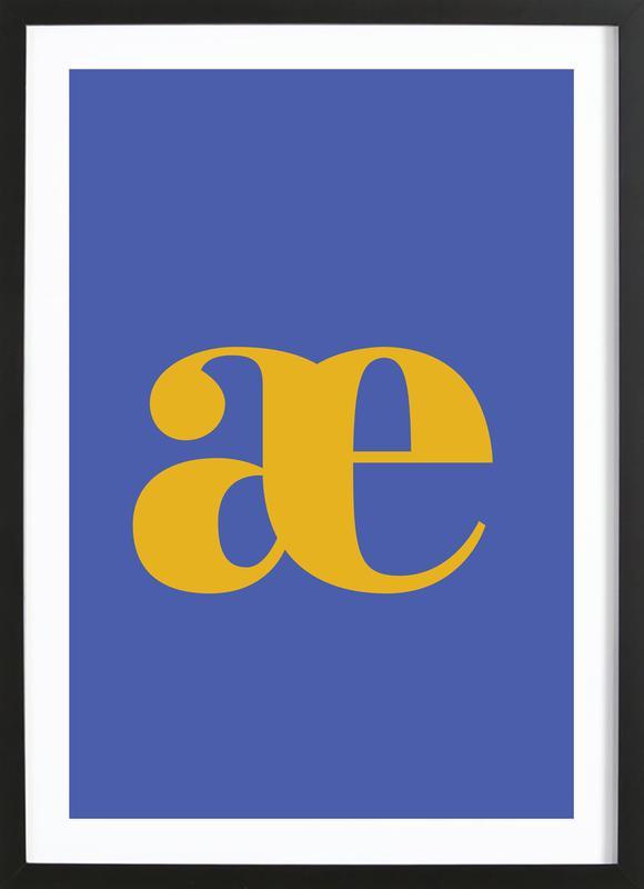 Blue Letter æ affiche sous cadre en bois