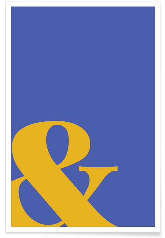 Alphabet et lettres, Blue Symbol & affiche
