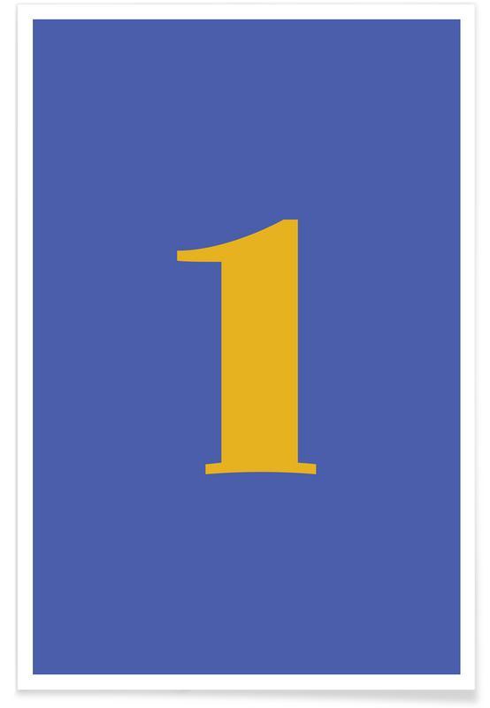 Alfabet og bogstaver, Blue Number 1 Plakat