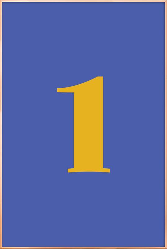 Blue Number 1 affiche sous cadre en aluminium