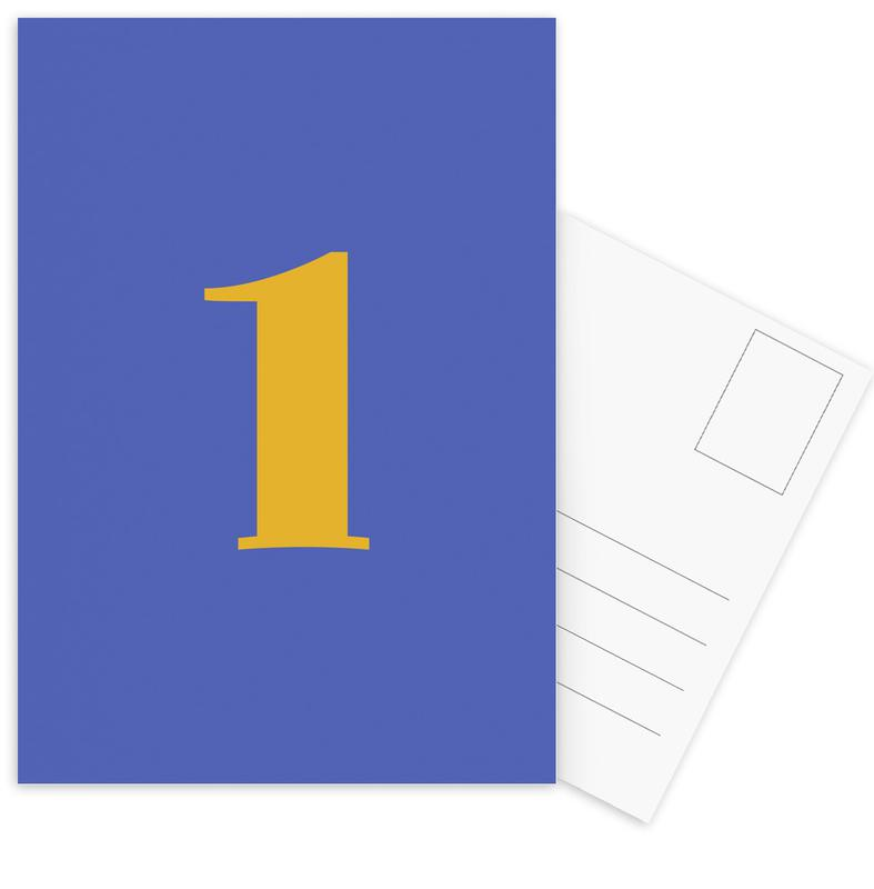 Blue Number 1 cartes postales