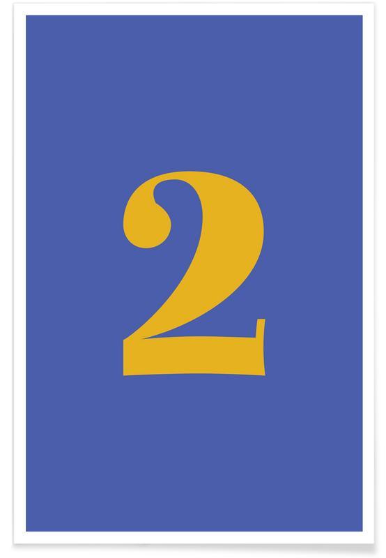 Alfabet og bogstaver, Blue Number 2 Plakat