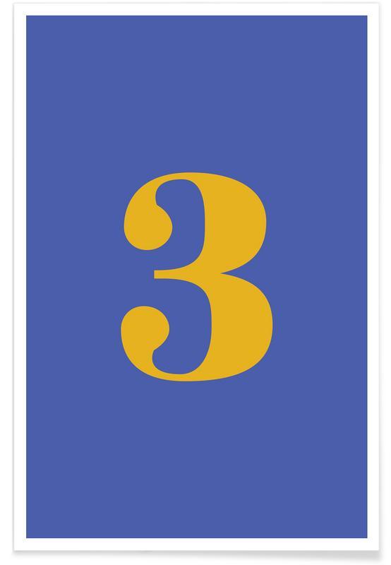 Alfabet og bogstaver, Blue Number 3 Plakat