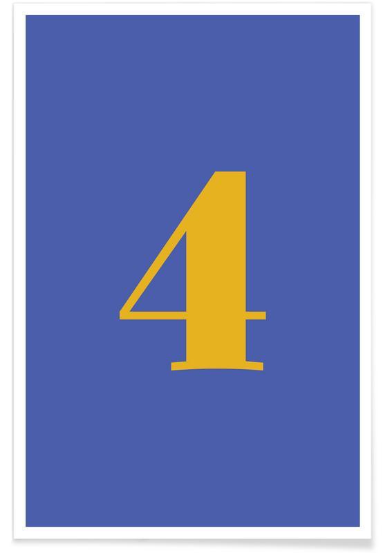 Alfabet og bogstaver, Blue Number 4 Plakat