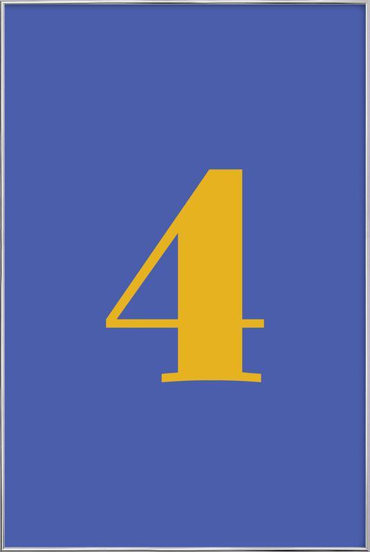Blue Number 4 affiche sous cadre en aluminium