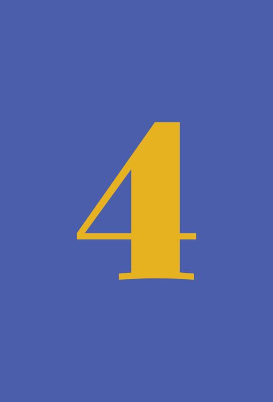 Blue Number 4 tableau en verre