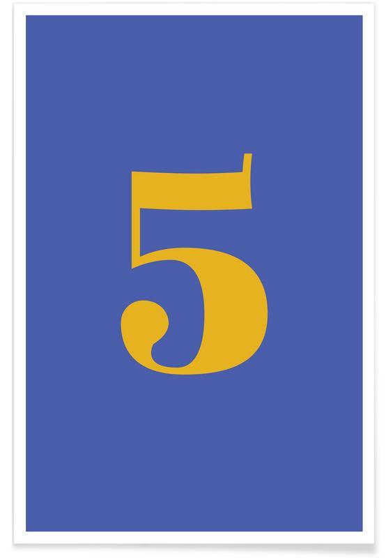 Alfabet og bogstaver, Blue Number 5 Plakat