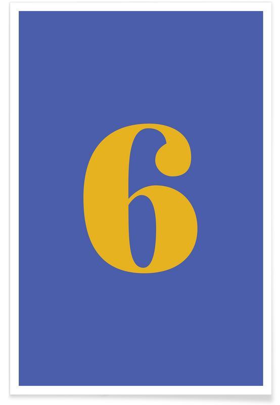 Alfabet og bogstaver, Blue Number 6 Plakat