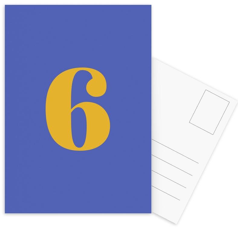 Blue Number 6 -Postkartenset