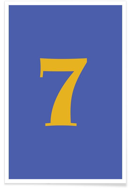 Alfabet og bogstaver, Blue Number 7 Plakat