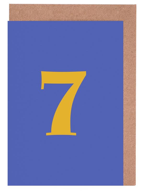 Blue Number 7 Greeting Card Set