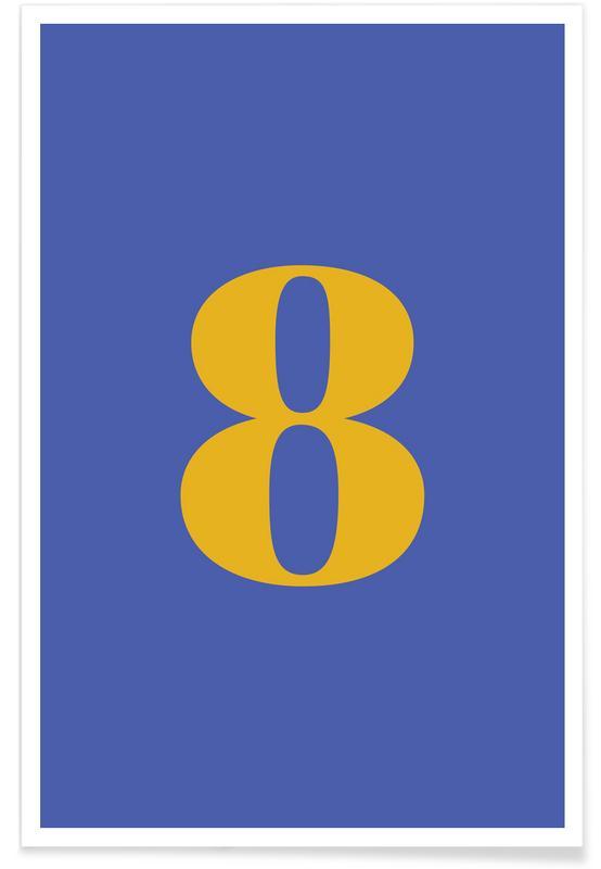 Blue Number 8 Poster